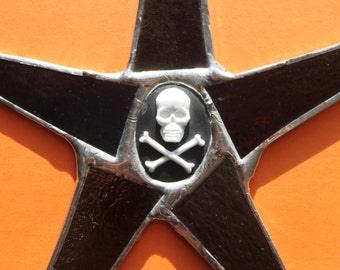 Cameo Boneo- Black stained glass star with skeleton cameo- 9 inches