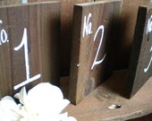 5 Barn Wood Table Numbers for your Rustic Wedding- Hand Painted