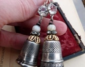Victorian Silver Thimble Earrings, by RusticGypsyCreations
