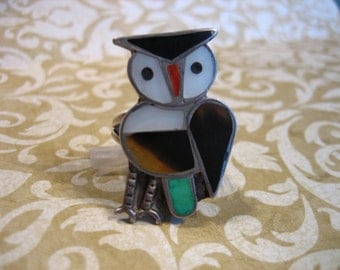Vintage Sterling Silver Indian OWL Bird Ring Turquoise Tiger Eye MOP