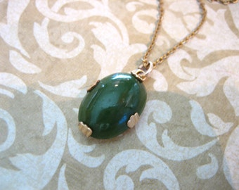 Vintage 10K GF Necklace with JADE Stone