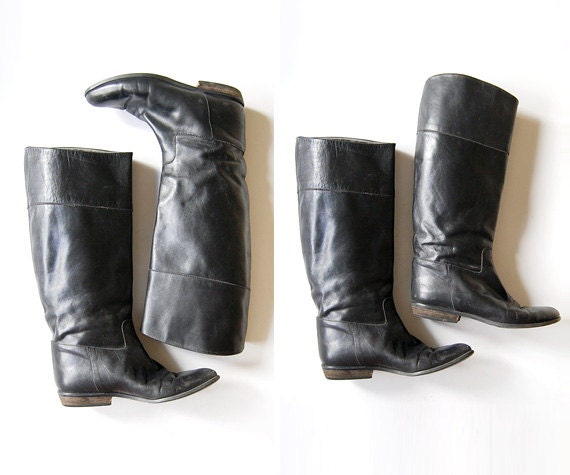 vintage 1970s 70s black leather pirate pull up boots