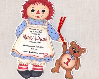 15 Doll Birthday Party Invitations -  Handcut & Personalized