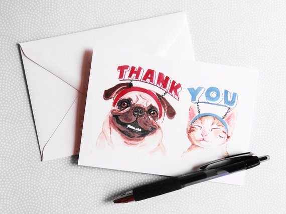 Thank You Card - Dog Watercolor, Cat Illustration, Greeting Card, Note Card