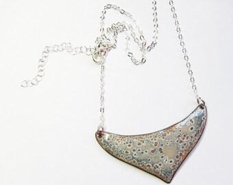 Enamel jewelry Gold gray crescent bib necklace Enamel necklace Big unique necklace