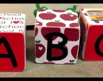 Back To School - end of school - wood blocks - personalized - custom - personalized school blocks - teachers gifts - teachers aid gift