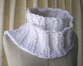 Classic WHITE SCARF/ Textured UNISEX Hand Knit