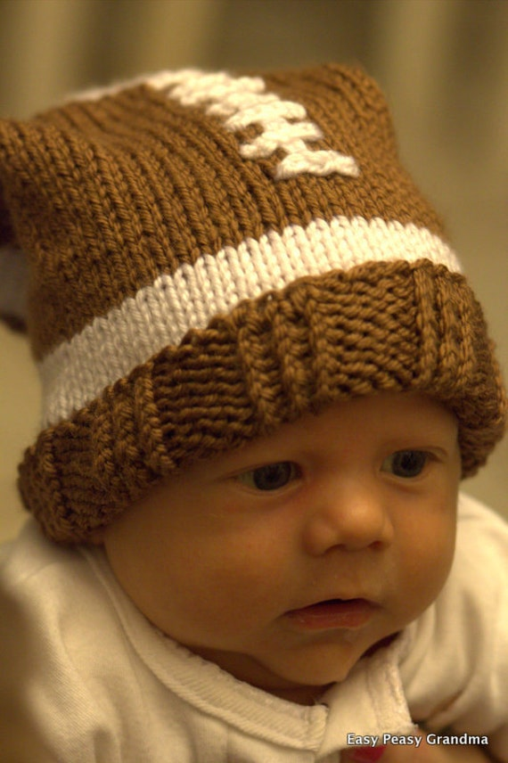 Items similar to KNIT PATTERN - hat, football, slouch, beanie, cap, 5 sizes P...