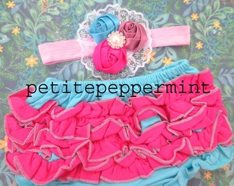 Hot Pink and Turquoise Ruffle Baby Bloomer Diaper Cover and Headband set