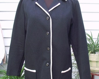 Vintage 1960's-70's Black with White Trim Button Front Two Pocket Jacket-Rayon Size 18 Resort Casual Cottage Chic Wedding Professional Mod