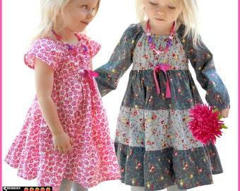 Astra Peasant Girls Dress Pattern + Free Mother-Daughter Apron Pattern, Childrens SEWING PATTERNS 12m 12y  pdf, toddler, baby