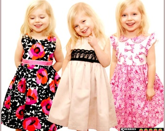 5 Berries Girls Dress Patterns + Free Mother-Daughter Apron Pattern, Symphony Children's SEWING PATTERNS,  PDF,  tutorial, baby, toddler