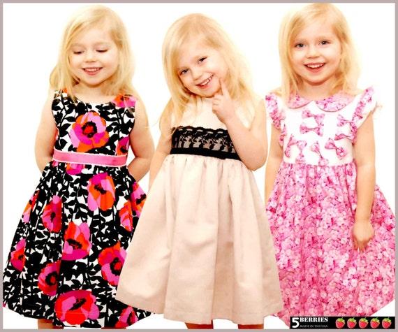 5 Berries Girls Dress Patterns + Free Mother-Daughter Apron Pattern, Symphony Children's SEWING PATTERNS,  PDF,  tutorial, baby, toddler