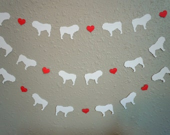 Bulldog Love Paper Garland - Valentine's Day Decor - Choose Your Colors