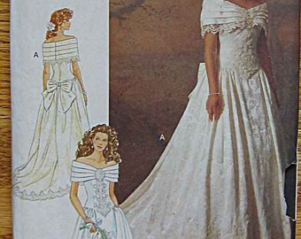 RARE Misses' Bridal Gown, Off the Shoulder Wedding Dress, Butterick 5898 Sewing Pattern UNCUT Size 6-8-10