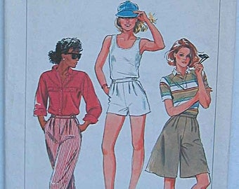 Vintage 80's Misses' Front Pleated Pants, Shorts & Culottes, Simplicity 6953 Sewing Pattern UNCUT Size 8