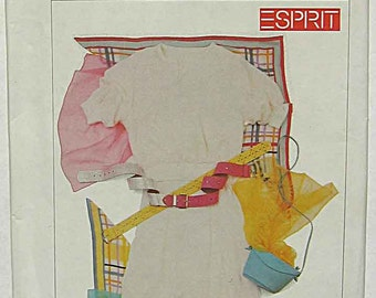 Vintage 80's Misses' ESPRIT Skirt and Pullover Top, Simplicity 7265 Sewing Pattern UNCUT Size 10