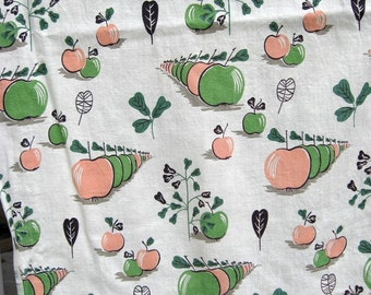 Vintage Curtains / Fun Novelty Print with Cascading Apples / Cool Apple Print Fabric