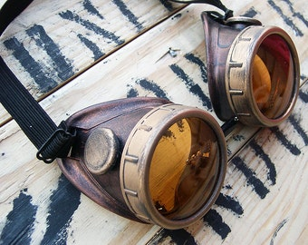 STEAMPUNK GOGGLES - Antique COPPER Cyber Metal-Look Two Tone  with Gold Eye Caps - Burning Man Goggles