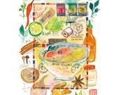 Vietnamese Pho recipe print, Kitchen art print, Watercolor food painting, Asian decor, Wall art, 8X10 print, Home decor, Kitchen wall art