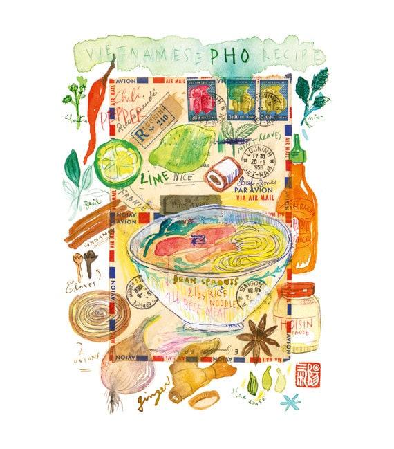 Vietnamese Pho Recipe Poster Kitchen Art Print By