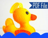 Duck Pattern, PDF PATTERN, baby duck template,  Plush pattern, felt duck toy pattern,  Instant Download , Duck Baby Shower, A728