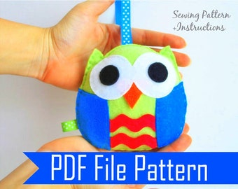 Felt Baby Owl  PDF Sewing pattern , Kids craft Project  Instant Download A670