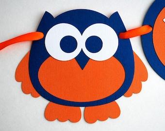 Owl Banner, Owl Handmade Birthday Banner,  Happy Birthday Banner, Owl Party Theme, Orange and Blue Boy, Owl Banner, Handmade Banner, A851