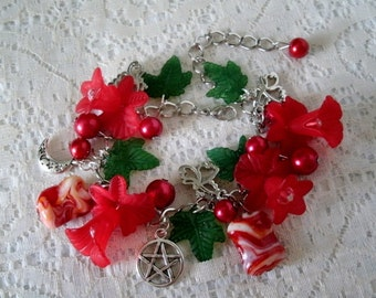 Red Flower Pentacle Charm Bracelet, wiccan jewelry pagan jewelry wicca jewelry goddess witch witchcraft pentagram magic pagan bracelet