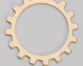 """Open Gear -Brass -24ga- 3/4""""- PK/6-Eurotool-Great for your Jewelry Stamping Needs-Stamping Blanks for Personalized Jewelry"""