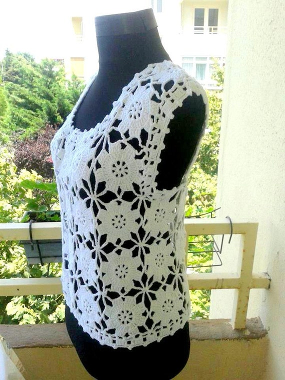 Crochet Cotton White Top Tank Beachwear Wedding Bridal Top Women Spring Summer Fall Winter Clothing Soft Cotton