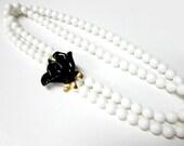 Vintage Kenneth Jay Lane Necklace Midnight Rose Signed KJL Necklace Black White Rose