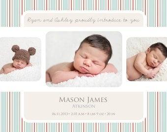 Tri Photo Striped Birth Announcement BOY GIRL ANNOUNCEMENT
