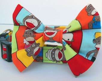 Sock Monkey Bow Tie Dog Collar - Made to order-