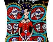 Day of The Dead Pillow -  - Throw Pillow Mexican Folk Art by Heather Galler Frida Kahlo (HG375)