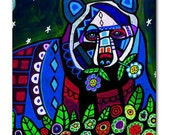 65% Off- Black Bear Folk Art Ceramic Tile  Animal Tile Coaster  Modern Unique Gift Colorful Coaster Modern Art (HG167)