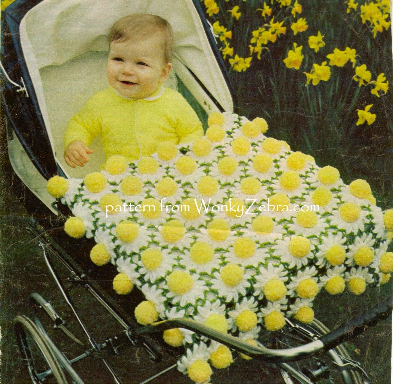 Crochet Daisy Baby Blanket Pattern : Vintage baby afghan Daisy Pompom Blanket Crochet Pattern PDF
