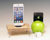 Docking station with charger for any iPhone including 6 and 6 plus.. Retro Rustic. Hairpin legs. Recycled wood. 484.