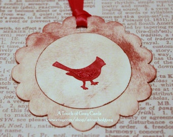 Christmas Tags (Triple Layered) - Cardinal Tags- Handmade Vintage Inspired Christmas Gift Tags - Set of 8