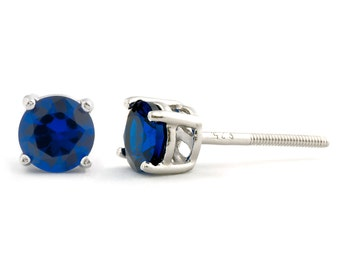 1.0ct 5mm Round Brilliant-cut Created Ceylon Sapphire Screw Back Stud Earrings Solid 925 Sterling Silver, 095-1013