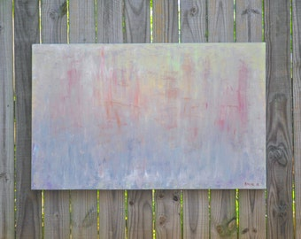 Ships in the Fog 30x48 very large expressionism abstract original painting lavender green gray coral primitive rustic urban industrial