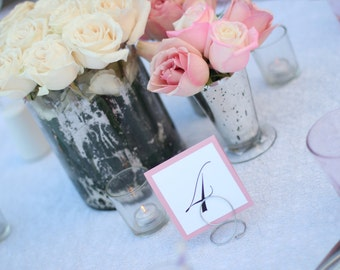 Wedding Table Number Petite Flat Layered Design Compliments any Reception Table Decor
