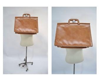 SCHLESINGER leather bag belting satchel attache tote briefcase tote large