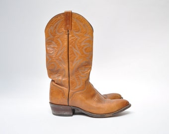 vintage leather boots cowboy boots work EL DORADO hand made boot 9 D