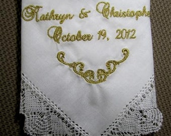 Handmade Bobbin Lace Wedding Hankie, coordinates with Grace Loves Lace, Elegant, Heirloom Quality for Bride, Mother or Mother-In-Law