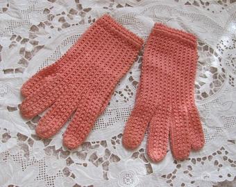 Soft Orange Pink Cotton Knit Ladies Wrist Gloves