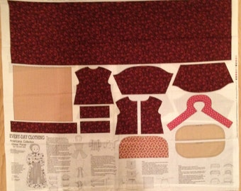 A Wonderful American Collection Every Day Doll Dress Red Fabric Panel Free US Shipping