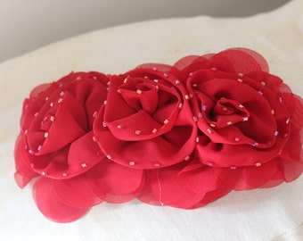 Cute  beaded ruffled chiffon    flower  applique red  color