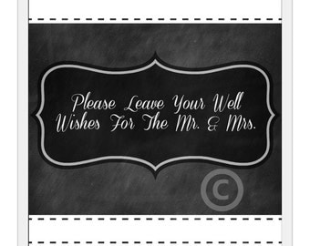 Wedding Sign / Guest Book / Chalkboard Wedding Sign / Instant Download / Leave Your Well Wishes for the New Mr. & Mrs. Printable