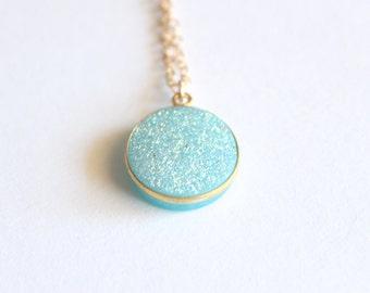 Sparkling Iridescent Aqua Ocean Druzy Gold Filled Necklace